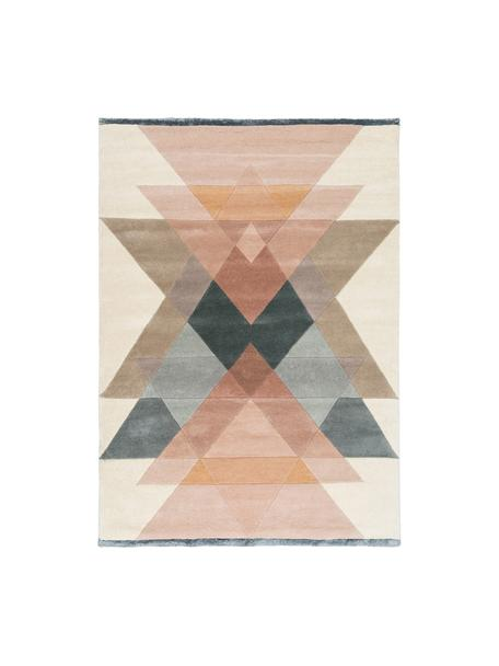 Handgetufteter Designteppich Freya aus Wolle, Flor: 95% Wolle, 5% Viskose, Beigetöne, Rosa, Blaugrau, B 200 x L 300 cm (Größe L)