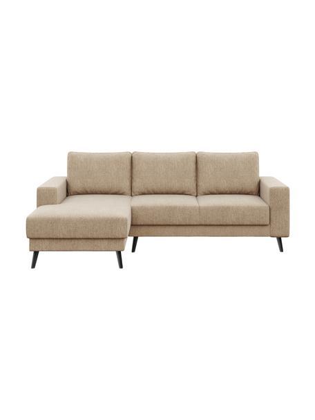 Sofa narożna Fynn (3-osobowa), Tapicerka: 100% poliester Dzięki tka, Nogi: drewno lakierowane, Beżowy, S 234 x G 145 cm