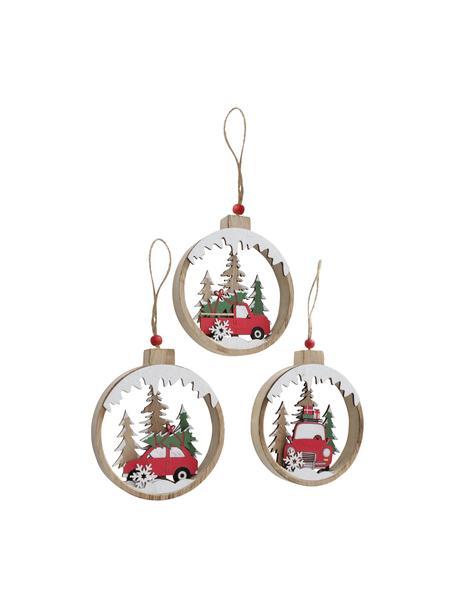 Adornos navideños Haldis, 3uds., Adornos: madera, Marrón, rojo, verde, blanco, negro, An 12 x Al 14 cm