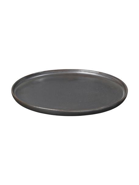 Platos artesanales de postre Esrum Night, 4uds., Gres, esmaltado, Marrón grisáceo, plateado mate con reflejos brillante, Ø 21 cm
