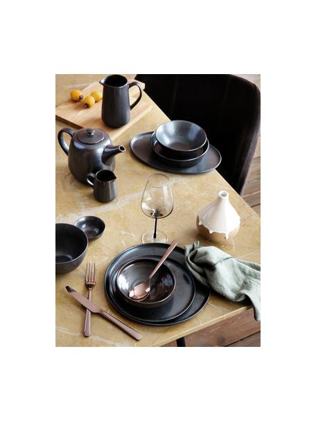 Handgemachte Frühstücksteller Esrum Night, 4 Stück, Steingut, glasiert, Graubraun, matt silbrig schimmernd, Ø 21 cm