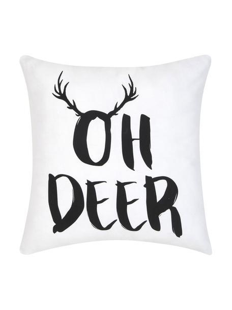 Kussenhoes Oh Deer met opschrift, Katoen, Zwart, wit, 40 x 40 cm