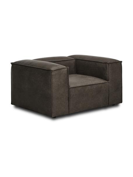 Fotel ze skóry z recyklingu Lennon, Tapicerka: skóra z recyklingu (70% s, Nogi: tworzywo sztuczne Nogi zn, Szarobrązowa skóra, S 130 x G 101 cm