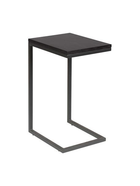 Tavolino moderno Pia, Piano d'appoggio: legno di quercia, laccato, Struttura: metallo, verniciato a pol, Nero, Larg. 40 x Prof. 30 cm