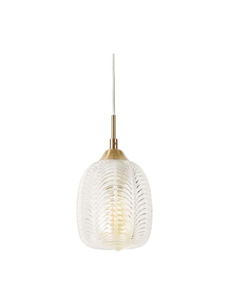 Kleine hanglamp Vario van gesatineerd glas, Lampenkap: gesatineerd glas, Baldakijn: gecoat aluminium, Messingkleurig, transparant, Ø 14  x 24 cm