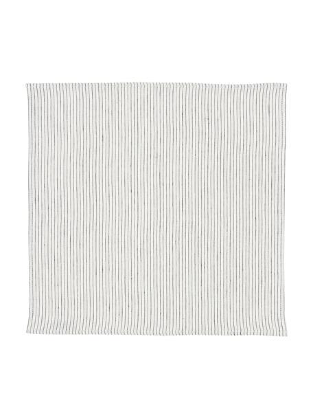 Servilletas de lino Svete, 6uds., Blanco crema, negro, An 43 x L 43 cm