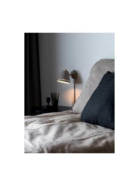 Retro-Wandleuchte Pine mit Stecker, Lampenschirm: Metall, beschichtet, Dekor: Metall, beschichtet, Grau, Messingfarben, 14 x 20 cm