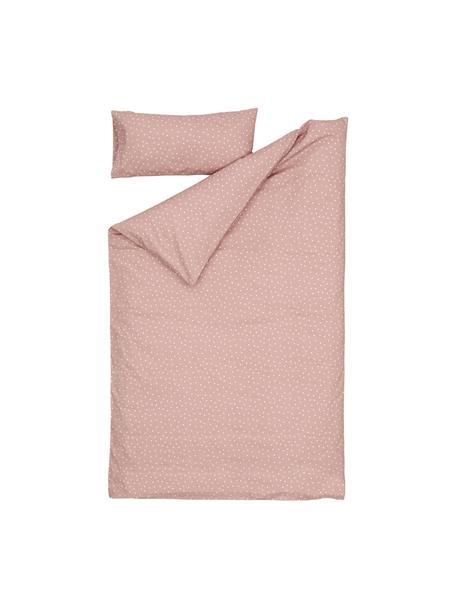 Dekbedovertrek Betiana met hoeslaken van biokatoen, 100% biokatoen Katoenen beddengoed voelt aangenaam zacht aan op de huid, absorbeert goed vocht en is geschikt voor mensen met allergieën., Roze, wit, beige, 60 x 120 cm + 1 kussen 30 x 60 cm