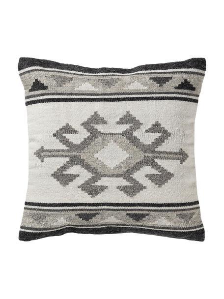 Kussenhoes Dilan met ethnopatroon in donkergrijs/grijs van wol, 80% wol, 20% katoen, Grijstinten, 45 x 45 cm