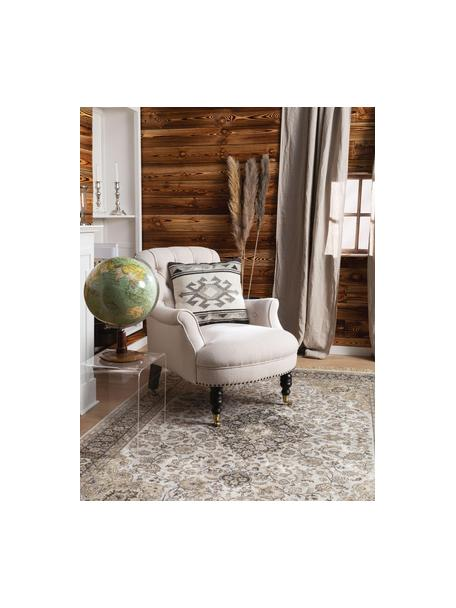 Federa arredo etnica in lana color grigio scuro/grigio Dilan, 80% lana, 20% cotone, Tonalità grigie, Larg. 45 x Lung. 45 cm