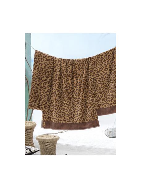 Strandlaken Jaguar met dierenprint, Weeftechniek: fluweel, Beige, bruin, 100 x 180 cm