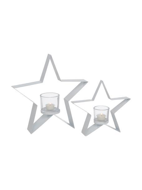 Windlichtenset Naos, 2-delig, Frame: gecoat metaal, Windlicht: glas, Wit, Set met verschillende formaten