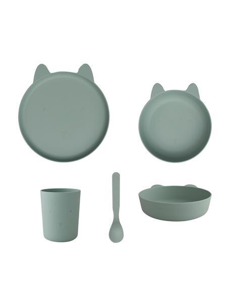 Set di piatti Paul 4 pz, 90% plastica, 10% fibra di bambù, Verde, Set in varie misure