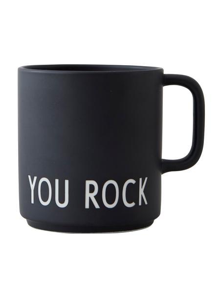 Design koffiemok Favourite YOU ROCK in zwart met opschrift, Fine Bone China (porselein), Zwart, wit, Ø 10 x H 9 cm