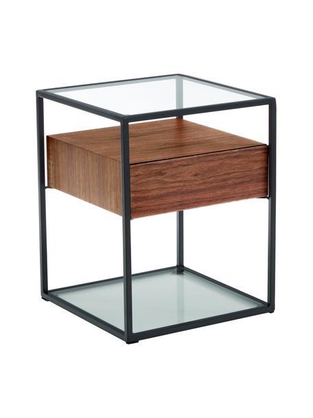 Nachttisch Helix mit Schublade, Gestell: Metall, pulverbeschichtet, Sockel und Tischplatte: Glas, Transparent, Schwarz, Akazienholz, 45 x 54 cm