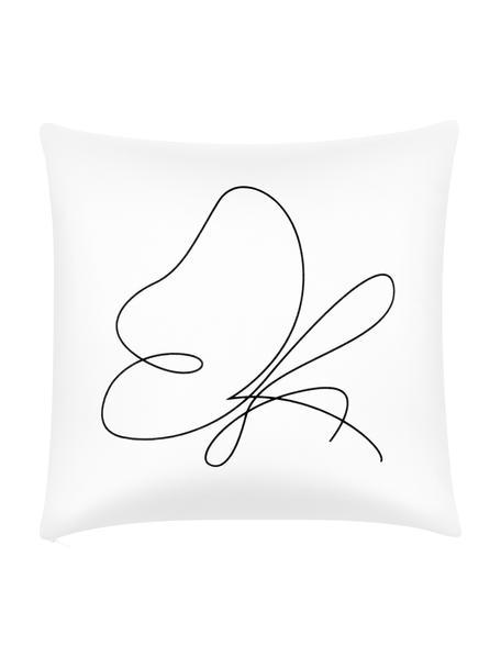 Kussenhoes Morpho met abstracte One Line tekening, 100% katoen, Wit, zwart, 40 x 40 cm