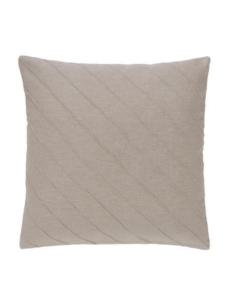 Kussenhoes Malia in beige met structuurpatroon, 55% linnen, 45% katoen, Beige, 45 x 45 cm