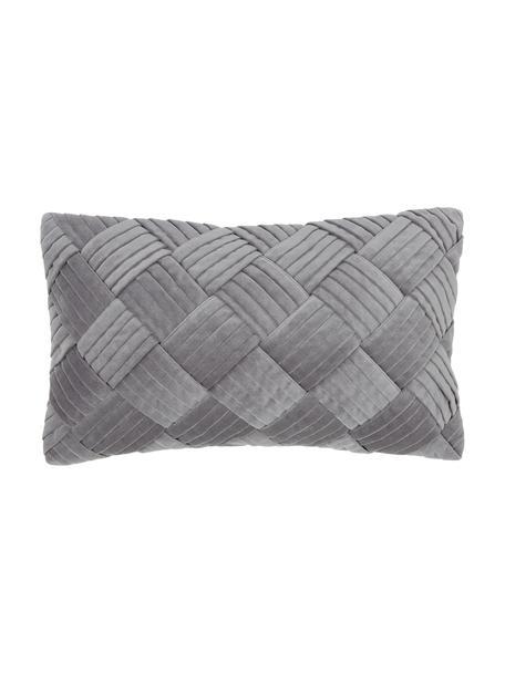 Funda de cojín de terciopelo texturizada Sina, Terciopelo (100%algodón), Gris, An 30 x L 50 cm
