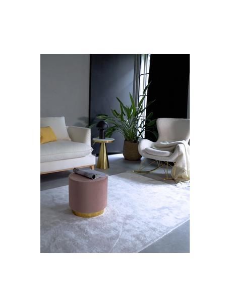 Puf de terciopelo Orchid, Tapizado: terciopelo (100%poliéste, Estructura: cartón, madera contrachap, Terciopelo rosa, dorado, Ø 40 x Al 39 cm