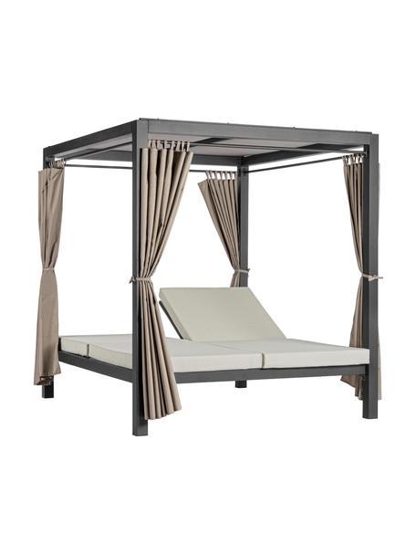 Zonnebed Dream met luifel en gordijn, Frame: gepoedercoat aluminium, Zwart, 208 x 205 cm