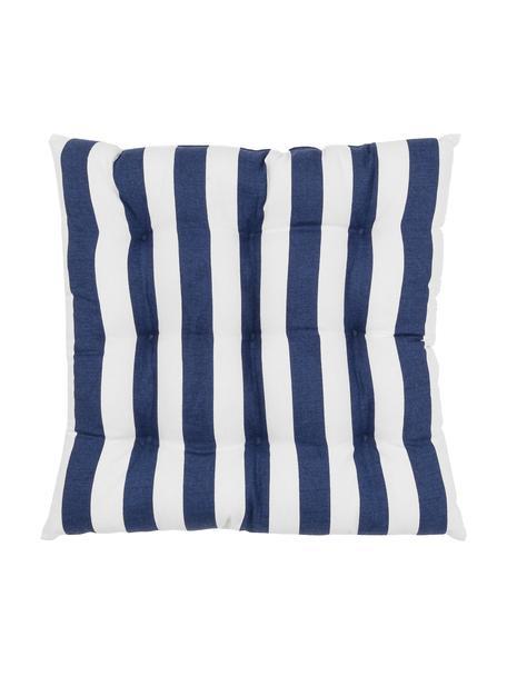 Cuscino sedia a righe blu scuro/bianco Timon, Rivestimento: 100% cotone, Blu scuro, bianco, Larg. 40 x Lung. 40 cm