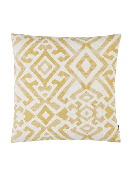Poszewka na poduszkę z efektem sprania Elani, 65%poliester, 25%wiskoza, 10%len, Kremowy, żółty, S 50 x D 50 cm
