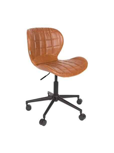 Bureaustoel OMG, in hoogte verstelbaar, Bekleding: kunstleer (50% polyuretha, Frame: gepoedercoat staal, Bekleding: bruin. Voetstuk met wieltjes: zwart, 65 x 76 cm