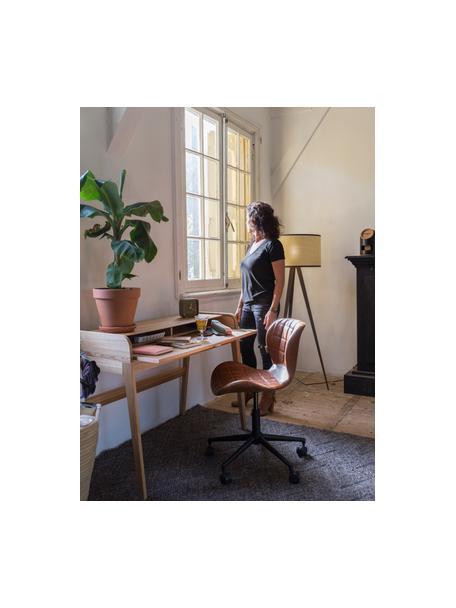 Bürodrehstuhl OMG, höhenverstellbar, Bezug: Kunstleder (50% Polyureth, Gestell: Stahl, pulverbeschichtet, Korpus: Schichtholz, Bezug: BraunSockel mit Rollen: Schwarz, 65 x 76 cm