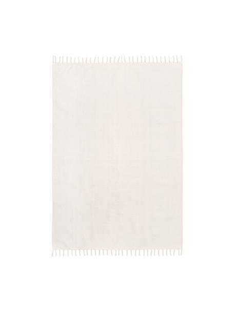 Dünner Baumwollteppich Agneta in Cremeweiss, handgewebt, 100% Baumwolle, Weiss, B 50 x L 80 cm (Grösse XXS)