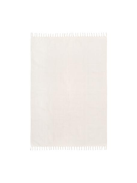 Tappeto in cotone tessuto a mano Agneta, 100% cotone, Bianco, Larg. 50 x Lung. 80 cm (taglia XXS)