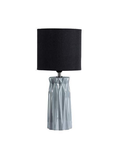 Moderne Keramik-Tischlampe Glossy Glow, Lampenschirm: Stoff, Lampenfuß: Keramik, Grau, Schwarz, Ø 18 x H 37 cm