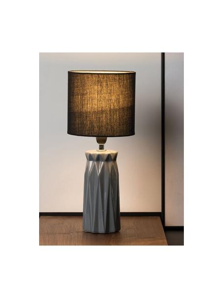 Moderne keramische tafellamp Glossy Glow, Lampenkap: stof, Lampvoet: keramiek, Wit, zwart, Ø 18 x H 37 cm