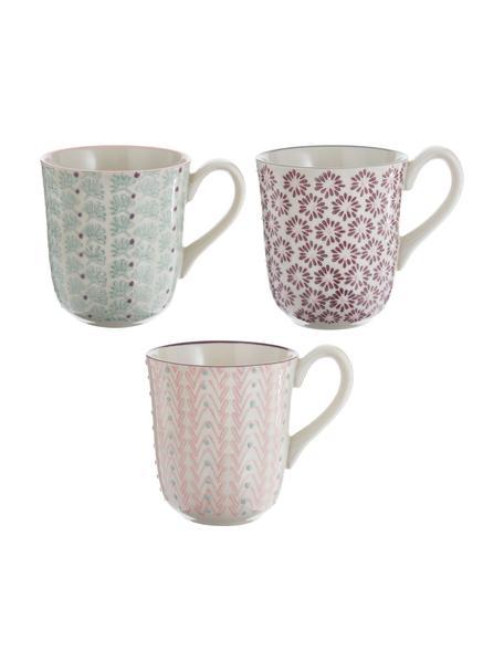 Tazas de café Maya, 3uds., Gres, Blanco, verde, rosa, lila, Ø 9 x Al 10 cm