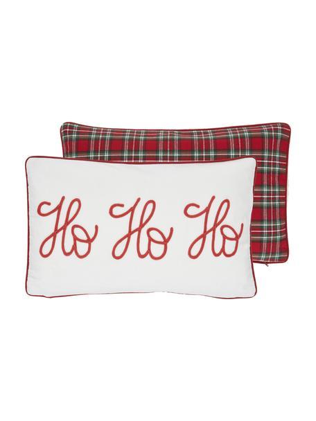 Dwustronna poszewka na poduszkę  Santa, 100% bawełna, Beżowy, czerwony Wykończenie brzegów: czerwony, S 30 x D 50 cm