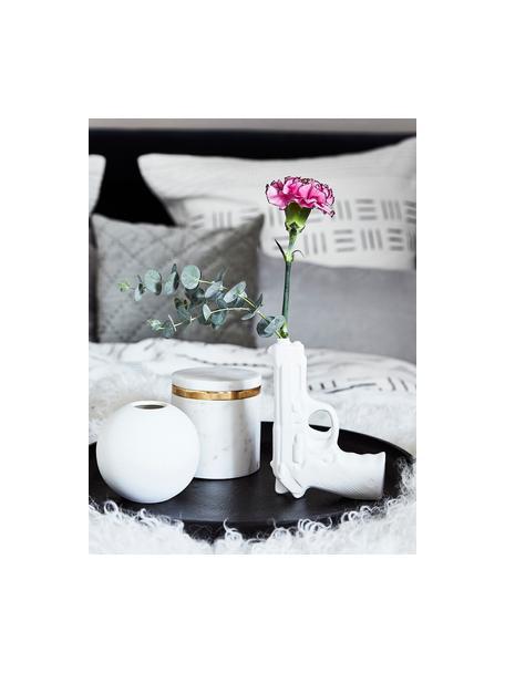Vaso di design in porcellana Gun, Porcellana smaltata, Bianco, Larg. 12 x Alt. 17 cm