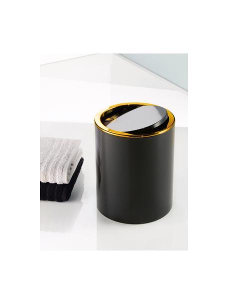 Abfalleimer Golden Clap mit Schwingdeckel, Kunststoff, Schwarz, Ø 19 x H 25 cm