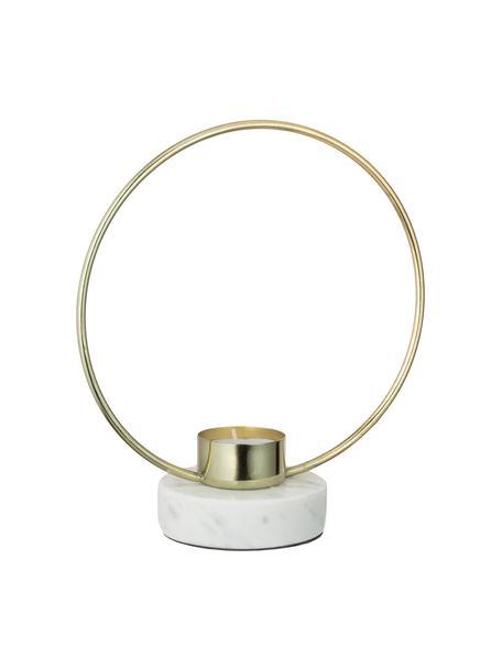Teelichthalter Ring, Fuß: Marmor, Goldfarben, Weiß, 18 x 20 cm