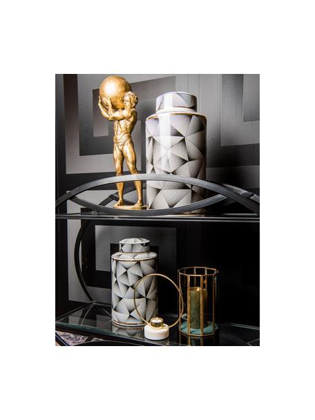Teelichthalter Ring, Goldfarben, Weiss, 18 x 20 cm