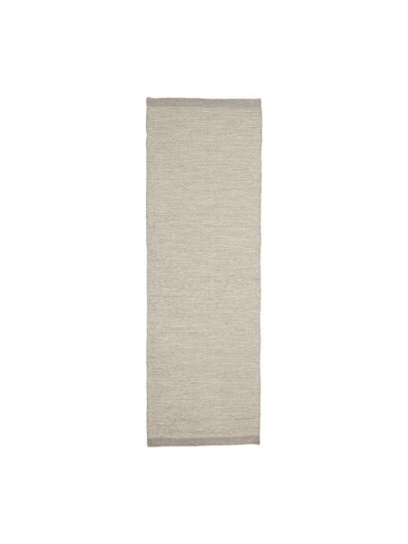 Alfombra kilim artesanal de lana Delight, Parte superior: 90%lana, 10%algodón, Reverso: 100%algodón Las alfombra, Gris claro, An 80 x L 250 cm