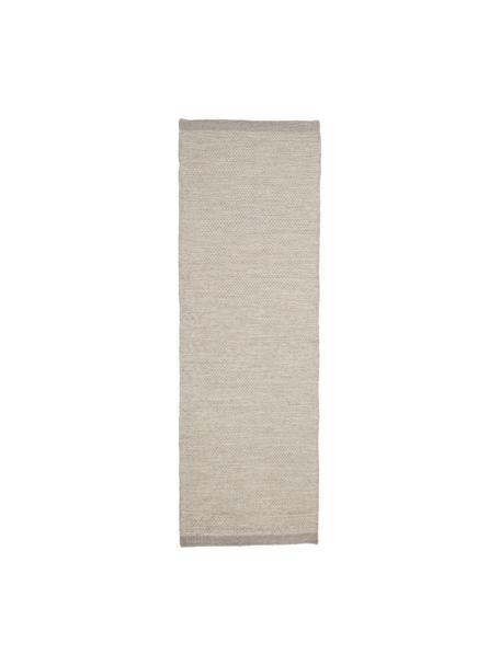 Handgeweven Kelim loper Delight van wol in lichtgrijs, Bovenzijde: 90% wol, 10% katoen, Onderzijde: katoen, Lichtgrijs, 80 x 250 cm