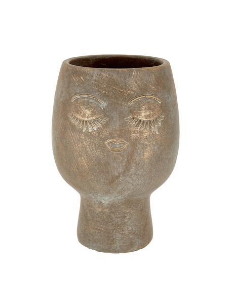 Portavaso viso in cemento Consi, Cemento rivestito, Ottonato, Ø 18 x Alt. 25 cm
