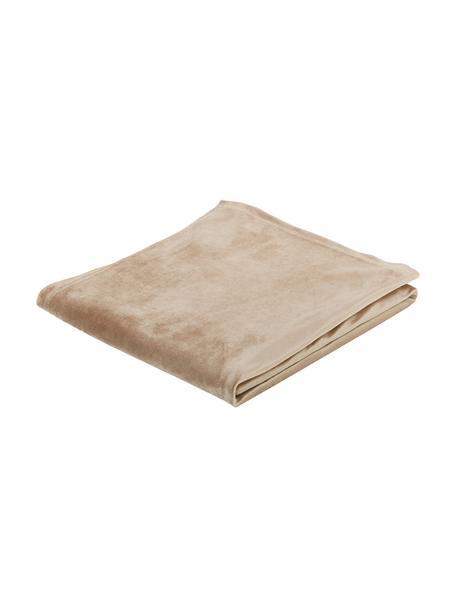 Tovaglia in velluto beige Simone, 100% velluto di poliestere, Beige, Per 4 - 6 persone (Larg. 140 x Lung. 200 cm)