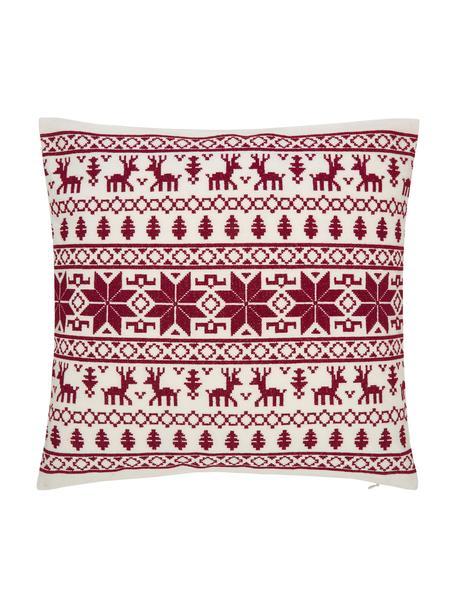 Geborduurde kussenhoes Orkney met Noors patroon, 100% katoen, Rood, crèmewit, 45 x 45 cm