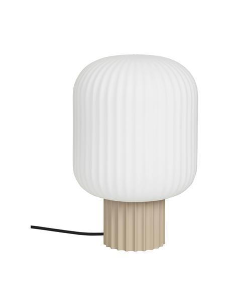 Lámpara de mesa pequeña de vidrio Lolly, estilo escandinavo, Pantalla: vidrio opalino, Cable: cubierto en tela, Blanco, beige, Ø 20 cm