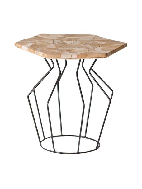 Mesa auxiliar Baron, Tablero: madera de teca, Patas: metal, Beige, negro, An 45 x Al 45 cm