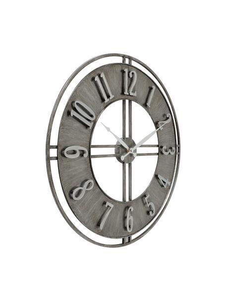 Wandklok Hudson, Gecoat metaal, Grijs met antieke afwerking, Ø 60 cm