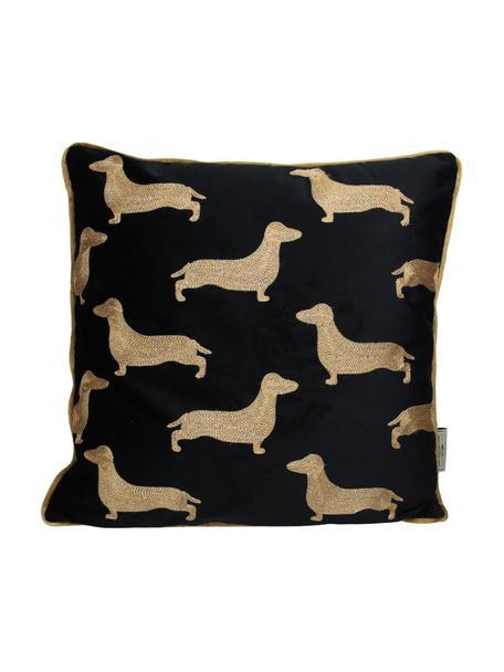 Cuscino ricamato in velluto Dachshund, Rivestimento: velluto di poliestere, Nero, dorato, Larg. 45 x Lung. 45 cm