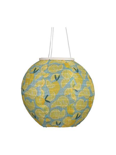 Solar hanglamp Citrus, Lampenkap: katoen, Geel, blauw, groen, Ø 25 x H 25 cm