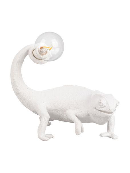 Lámpara de mesa pequeña de diseño Chameleon, Lámpara: poliresina, Cable: plástico, Blanco, An 17 x Al 14 cm