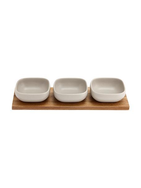 Set de cuencos de porcelana y madera Essentials, 4pzas., Cuencos: porcelana, Bandeja: madera de acacia, Blanco, acacia, Set de diferentes tamaños